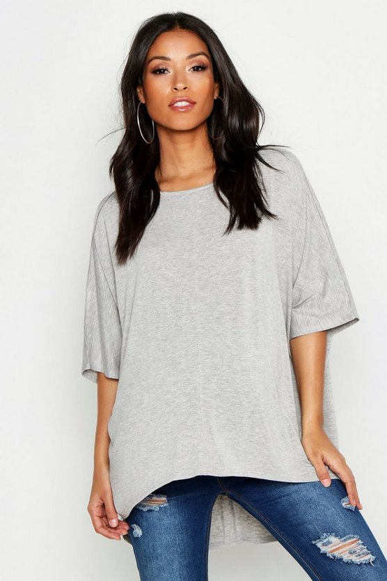 Light grey Maternity Dip Hem Tunic T-Shirt