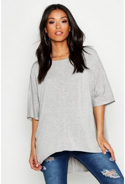 Womens Light grey Maternity Dip Hem Tunic T-Shirt