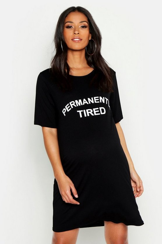 Womens Black Maternity Permanently Tired Nightie