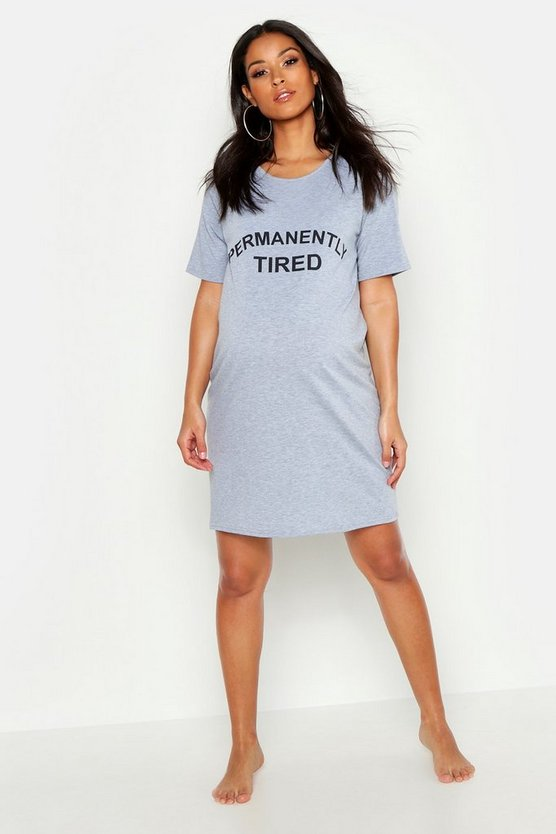 Grey marl Maternity Permanently Tired Nightie