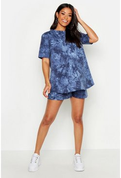 Womens Navy Maternity Tie Dye Short Lounge Set
