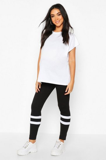 Womens Black Maternity Stripe Detail Legging