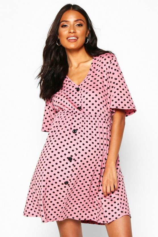 Womens Dusky pink Maternity Polka Dot Smock Dress