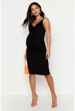 Womens Black Maternity Strappy Lace Trim Midi Bodycon Dress