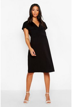 Womens Black Maternity Drape Sleeve Skater Dress