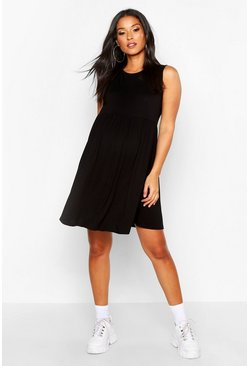 Womens Black Maternity Sleeveless Smock Dress