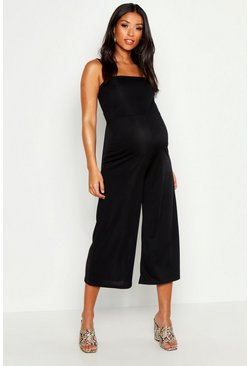 Womens Black Maternity Rib Culotte Jumpsuit