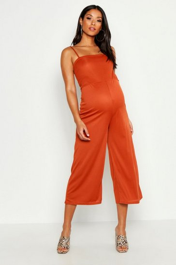 Womens Rust Maternity Rib Culotte Jumpsuit
