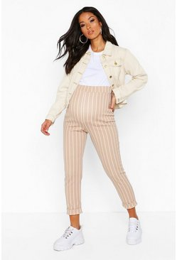 Camel Maternity Stripe Tapered Trouser