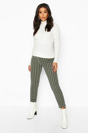 Womens Khaki Maternity Stripe Tapered Trouser
