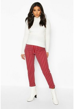 Wine Maternity Stripe Tapered Pants