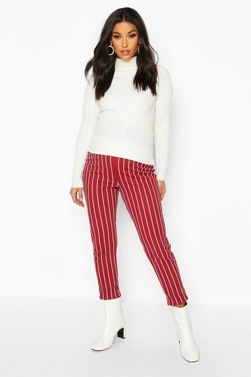 Wine Maternity Stripe Tapered Trouser