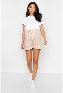 Womens Camel Maternity Tie Waist Stripe Flippy Short