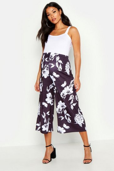 Womens Black Maternity Floral Culotte