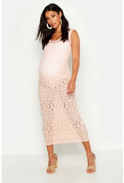 Womens Blush Maternity Crochet Beach Dress