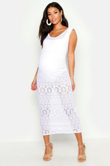 Womens White Maternity Crochet Beach Dress