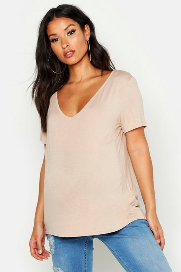 Womens Stone Maternity Slash Neck Basic T-Shirt