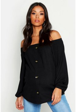 Womens Black Maternity Bardot Button Front Top