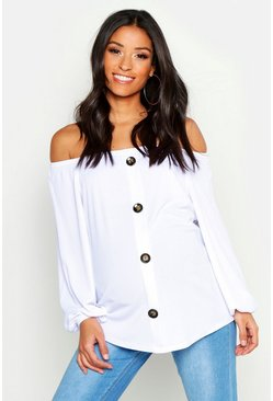 White Maternity Bardot Button Front Top