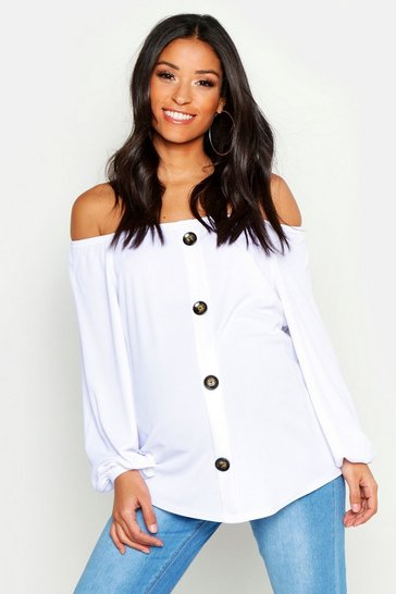Womens White Maternity Bardot Button Front Top