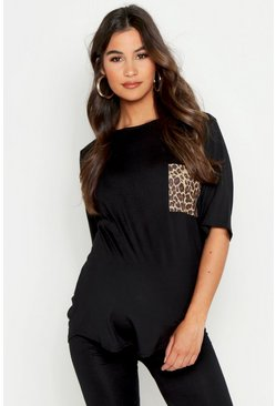 Womens Black Maternity Leopard Pocket T-Shirt