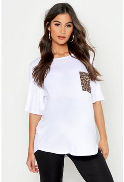 Womens White Maternity Leopard Pocket T-Shirt