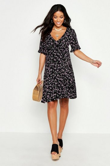 Womens Black Maternity Ditsy Floral V Neck Tea Dress
