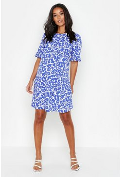 Womens Blue Maternity Floral Ruffle Smock Dress