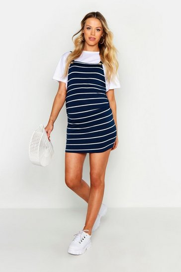Womens Navy Maternity Stripe Pinafore Dress