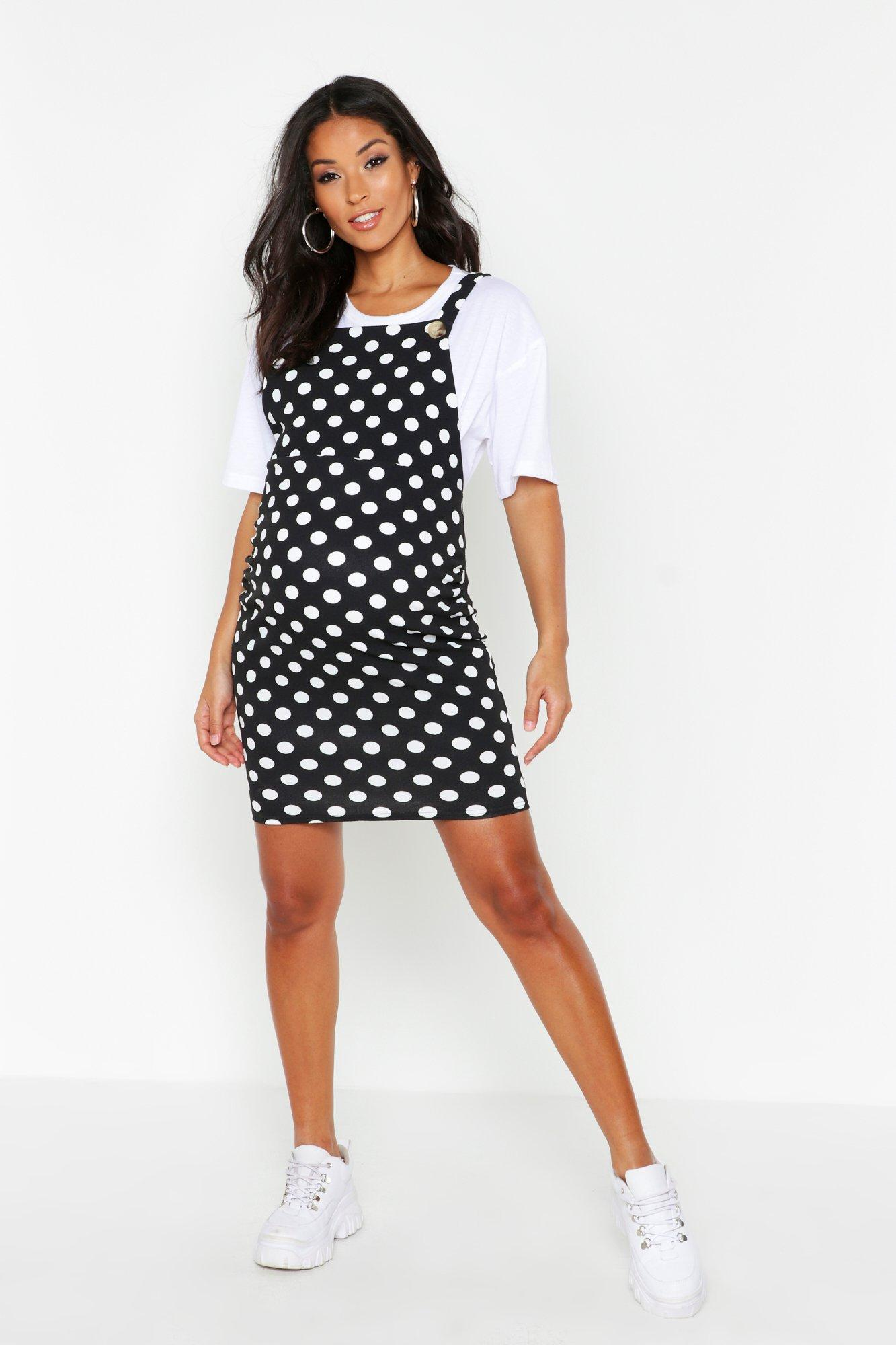Vintage Maternity Clothes History Womens Maternity Polka Dot Pinafore Dress - Black - 12 $17.60 AT vintagedancer.com