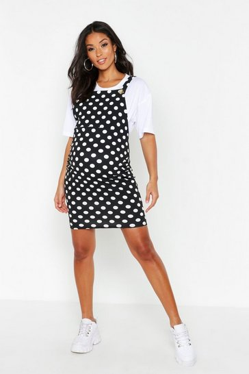 Womens Black Maternity Polka Dot Pinafore Dress