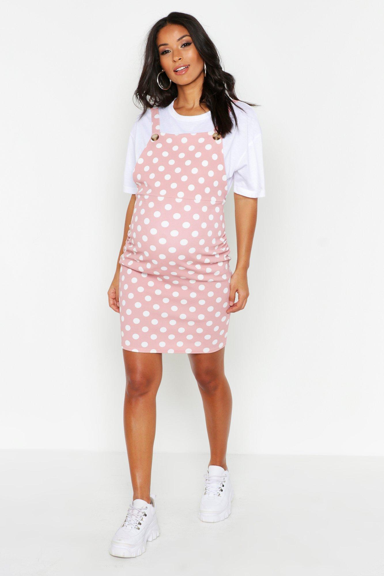 Vintage Maternity Clothes History Womens Maternity Polka Dot Pinafore Dress - Pink - 12 $17.60 AT vintagedancer.com