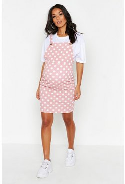 Rose Maternity Polka Dot Pinafore Dress