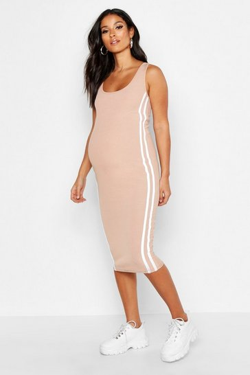 Sand Maternity Side Stripe Rib Midi Bodycon Dress
