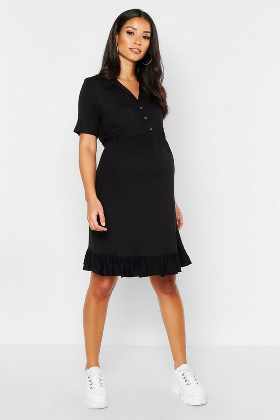 Womens Black Maternity Horn Button Ruffle Hem Shirt Dress