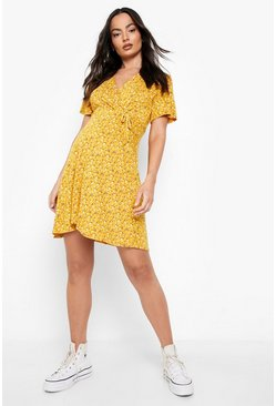 Womens Mustard Maternity Ditsy Floral Wrap Dress