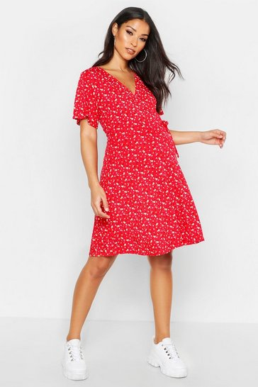 Red Maternity Ditsy Floral Wrap Dress