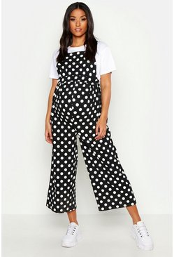 Womens Black Maternity Polka Dot Culotte Jumpsuit
