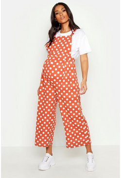 Womens Rust Maternity Polka Dot Culotte Jumpsuit