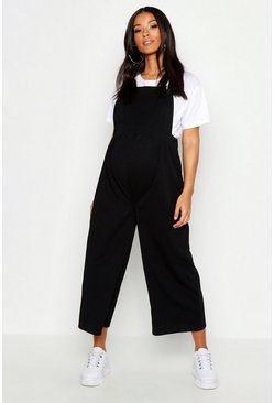 Womens Black Maternity Button Culotte Pinafore Dungaree
