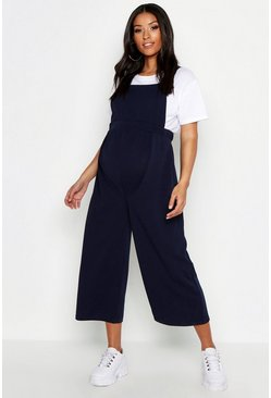 Womens Navy Maternity Button Culotte Pinafore Dungaree