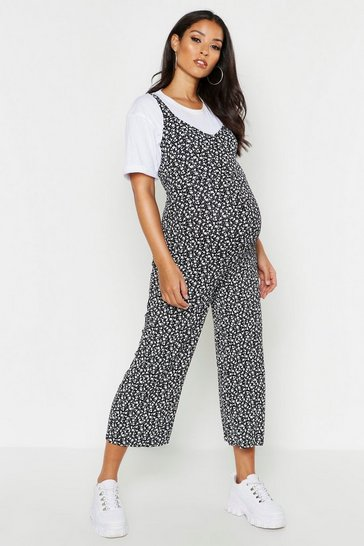 Black Maternity Ditsy Floral Culotte Jumpsuit