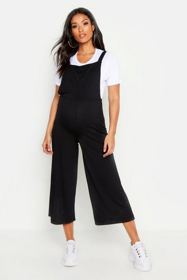 Black Maternity 2 In 1 Rib T-shirt & Dungaree Set