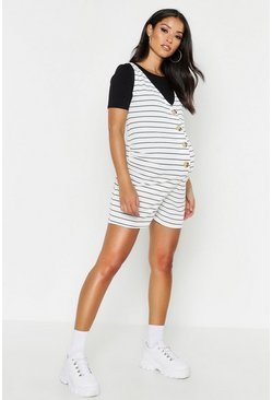 Womens White Maternity Button V Neck Stripe Romper