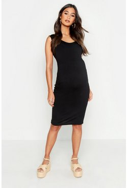 Womens Black Maternity Bodycon Dress