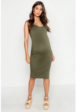 Womens Khaki Maternity Bodycon Dress