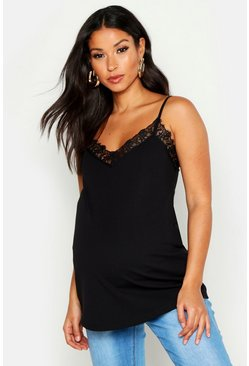 Womens Black Maternity Lace Trim V Neck Cami