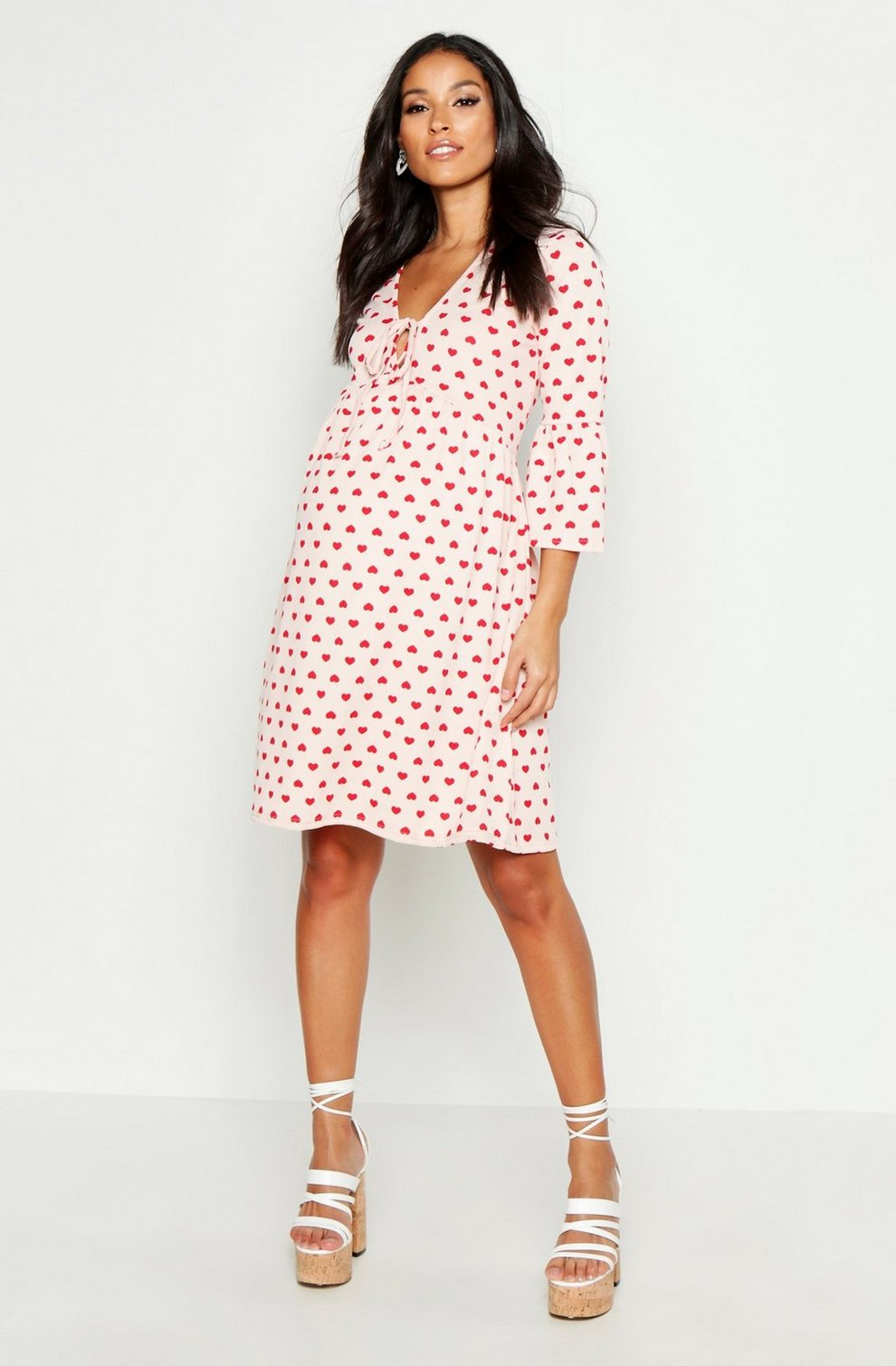 e974188d71586 Maternity Tie Front Heart Print Smock Dress | Boohoo