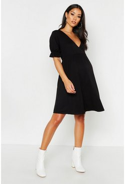 Womens Black Maternity Wrap Frill Sleeve Shift Dress