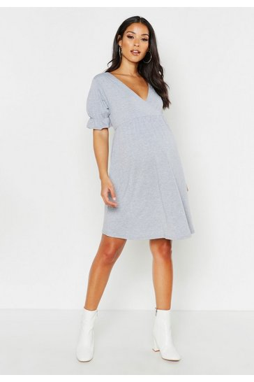 Womens Light grey Maternity Wrap Frill Sleeve Shift Dress